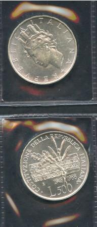 1988 - REPUBBLICA - 500 LIRE ARGENTO COSTITUZIONE REPUBBLICA - LOTTO/M28952