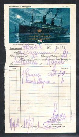 1929 - LOTTO/10702 - REGNO - PIROSCAFO BRASILE CONTO DI BORDO