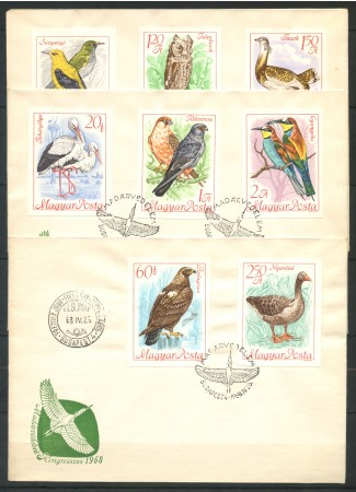 1968 - LOTTO/11246A - UNGHERIA - UCCELLI 8v. - 3 BUSTE FDC