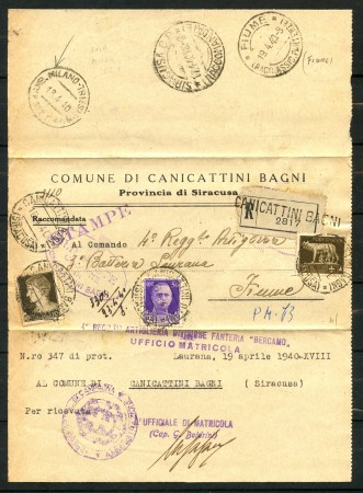 1940 - REGNO - CIRCOLARE RACCOMANDATA DA CANICATTINI BAGNI A FIUME  - LOTTO/30417