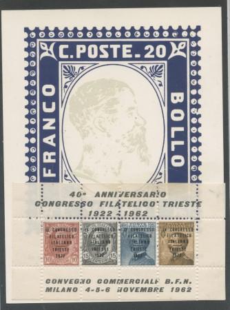 1962 - REPUBBLICA - 40° ANNIV. CONGRESSO FILATELICO FOGLIETTO ERINNOFILO - LOTTO/28276