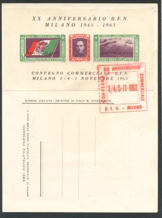 1963 - REPUBBLICA - 20° ANNIVERSARIO BORSA FILATELICA FOGLIETTO ERINNOFILO - LOTTO/28278