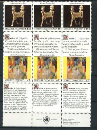 1991 - LOTTO/21464 - ONU AUSTRIA - DIRITTI DELL'UOMO 2v. - NUOVI CON APP.