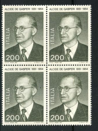 1981 - LOTTO/6734Q - REPUBBLICA - ALCIDE DE GASPERI - QUARTINA NUOVI