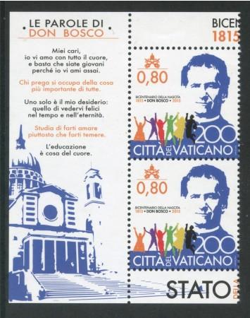 2015 - VATICANO - S.GIOVANNI BOSCO -  COPPIA CON DICITURA SUL BORDO - NUOVO - LOTTO/30707A