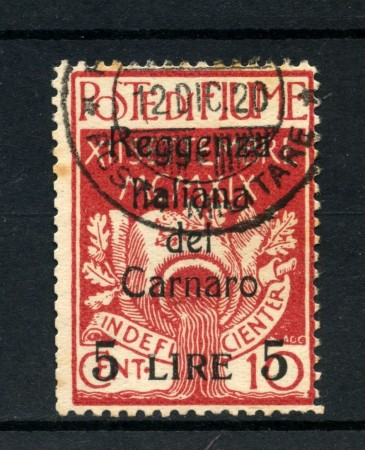 1920 - FIUME - 5 LIRE SU 10 CENT. REGGENZA DEL CARNARO - USATO - LOTTO/2189