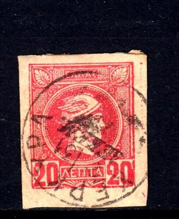 1889/99 - GRECIA - 20 l. ROSSO CARTA SPESSA - USATO - LOTTO/32108A
