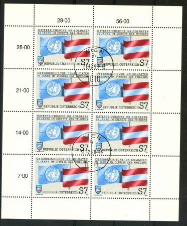 1990 - AUSTRIA - SOLDATI AUSTRIACI ALL'ONU - MINIFOGLIO USATO - LOTTO/29502