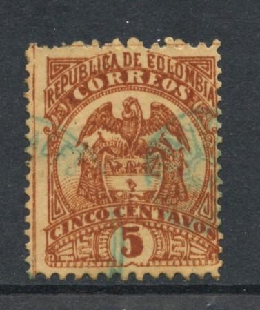 1895 - COLOMBIA - 5c. BISTRO SU PAGLIA - USATO - LOTTO/28827