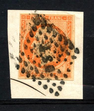 1853/60 - FRANCIA - 60c. ARANCIO NAPOLEONE - USATO SU FRAMMENTO DI BUSTA - LOTTO/12902