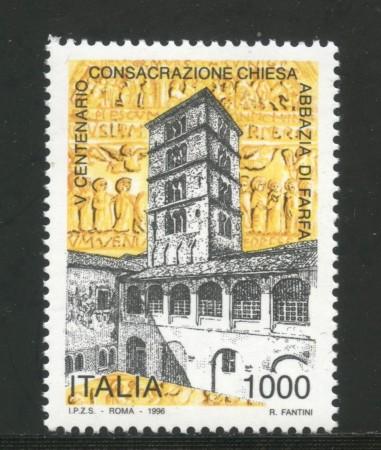 1996 - REPUBBLICA - ABBAZIA DI FARFA - NUOVO - LOTTO/2250N