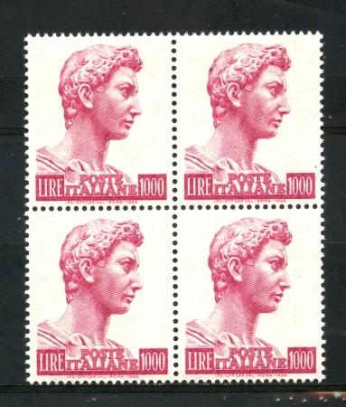 1974 - LOTTO/6615QN - REPUBBLICA - 1000 L. SAN GIORGIO - QUARTINA NUOVI