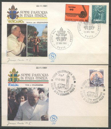 1981 - ITALIA - COLLE VALENZA - VISITA DI S.S. GIOVANNI PAOLO II° - 2 BUSTE - LOTTO/31165