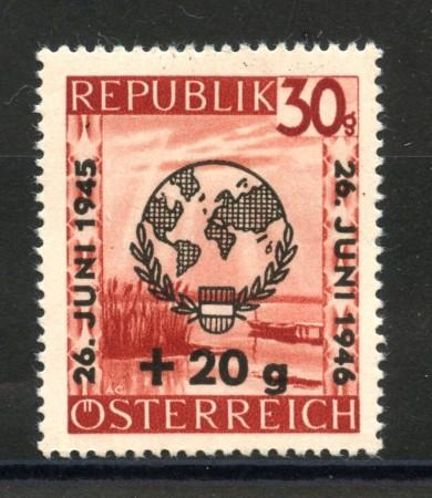 1946 - AUSTRIA - ANNIVERSARIO NAZIONI UNITE NUOVO - LOTTO/34055