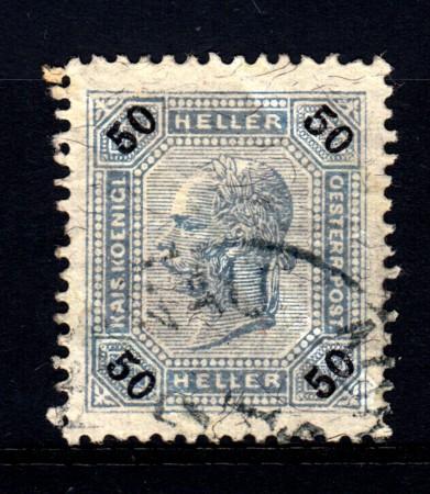 1901 - LOTTO/14213 - AUSTRIA - 50 h. AZZURRO GRIGIO CON LINEE BRILLANTI - USATO