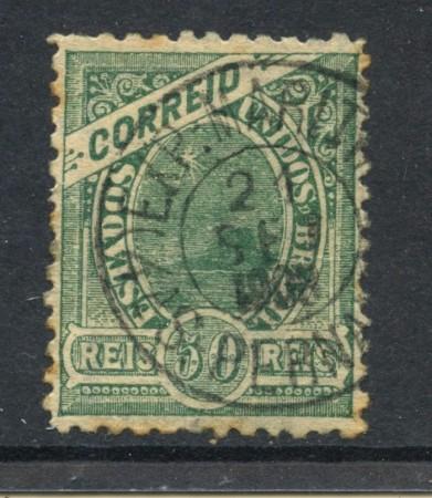 1905 - BRASILE - 50r. VERDE CON FILIGRANA - USATO - LOTTO/28837