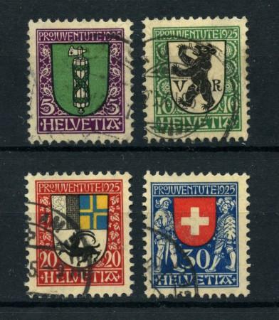 1925 - LOTTO/22260 - SVIZZERA - PRO JUVENTUTE 4v. - USATI