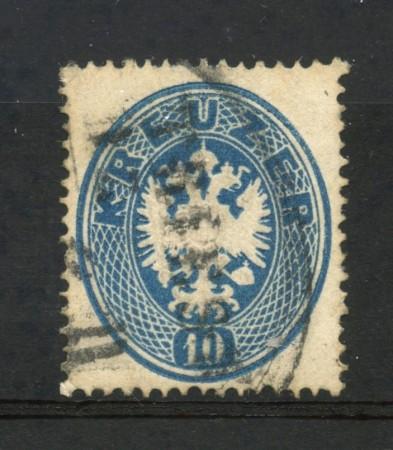 1863 - AUSTRIA - 10 K. AZZURRO - USATO - LOTTO/LBF2542