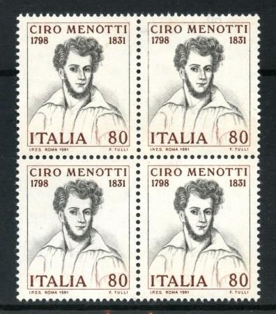 1981 - LOTTO/6739Q - REPUBBLICA - CIRO MENOTTI - QUARTINA NUOVI