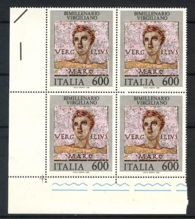 1981 - LOTTO/6750Q - REPUBBLICA - VIRGILIO - QUARTINA NUOVI