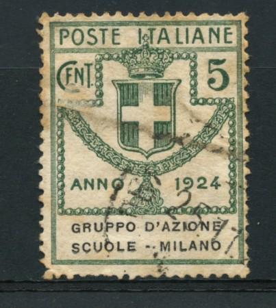 1924 - LOTTO/16529 -  REGNO -5 CENT. GRUPPO SCUOLE DI MILANO - USATO