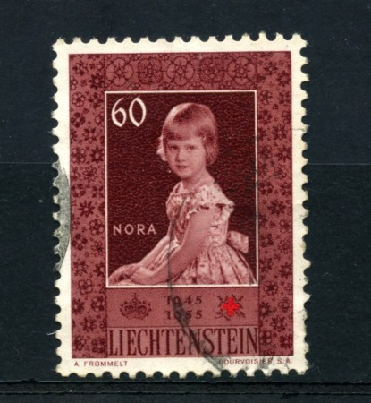 1955 - LOTTO/16654 - LIECHTENSTEIN - 60r. CROCE ROSSA - USATO