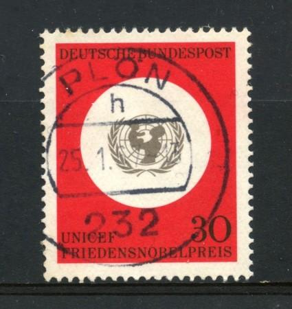1966 - GERMANIA FEDERALE -  30p. PREMIO NOBEL UNICEF - USATO