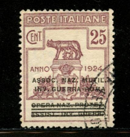1924 - LOTTO/12526 - REGNO - 25c. ASS.NAZ. MILITARI E INVALIDI DI GUERRA - USATO