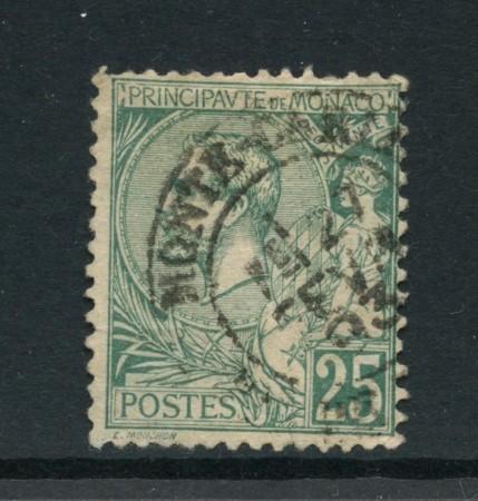 1891 - MONACO - 25c. VERDE RE ALBERTO I° - USATO - LOTTO/LBF2625A