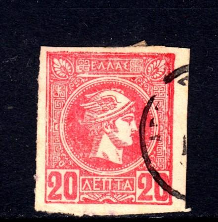 1889/99 - GRECIA - 20 l. ROSSO - USATO - LOTTO/32108
