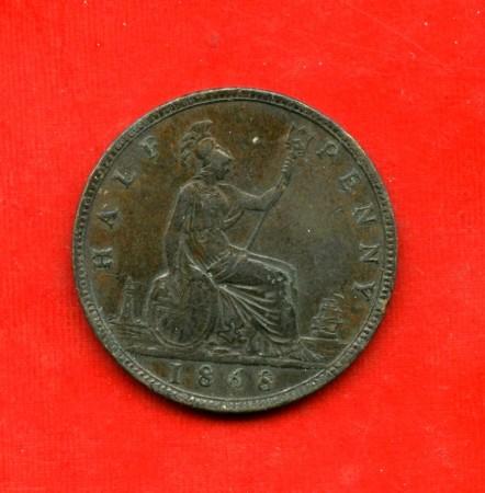 1868 - GRAN BRETAGNA - 1/2 PENNY REGINA VITTORIA - LOTTO/M31683