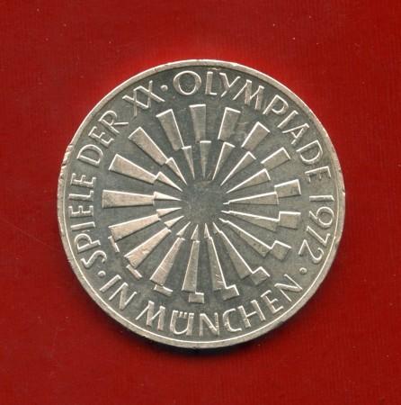 1972 - GERMANIA - 10 MARCHI OLIMPIADI ARGENTO SPIRALE II° TIPO ZECCA J - LOTTO/M30513
