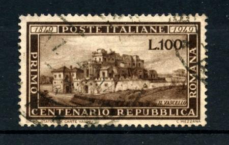 1949 - REPUBBLICA ITALIANA - 100 LIRE  CENTENARIO REPUBBLICA ROMANA - USATO - LOTTO/25003