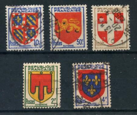 1949 - FRANCIA - STEMMI 5v. - USATI - LOTTO/28495