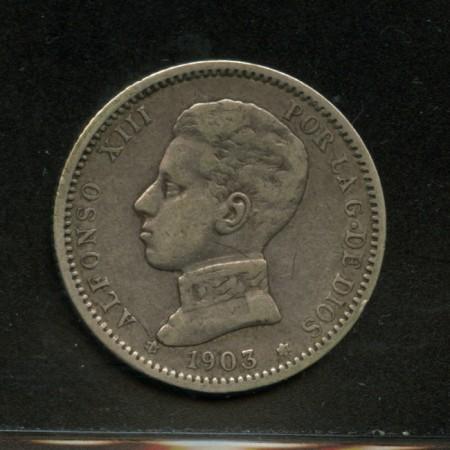 1903 - LOTTO/M13572 - SPAGNA - 1 PESETA  ALFONSO XIII° ARGENTO