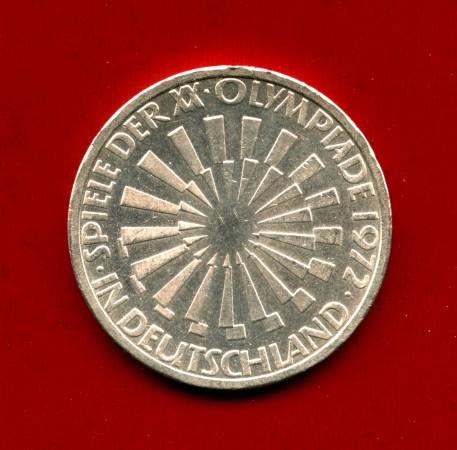 1972 - GERMANIA - 10 MARCHI OLIMPIADI ARGENTO  SPIRALE ZECCA J - LOTTO/M30509