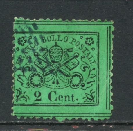 1868 - STATO PONTIFICIO - 2 CENTESIMI  VERDE CHIARO - USATO . LOTTO/30677
