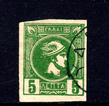 1889/99 - GRECIA - 5 l. VERDE - USATO - LOTTO/32106A