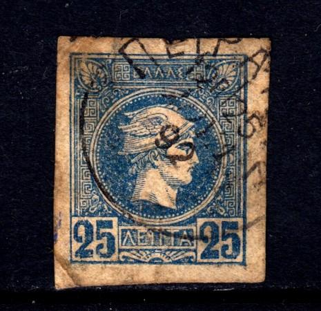 1889/99 - GRECIA - 25 l. BLU - USATO - LOTTO/32109