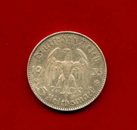 1935 - GERMANIA - 5 MARCHI ANNIVERSARIO ARGENTO - ZECCA  J - LOTTO/M30507