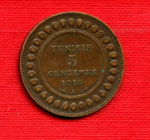 MONETE  TUNISIA - 1916 - LOTTO/M22523 - 5 CENTESIMI  MUHAMMAD AL-NASIR
