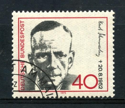 1972 - GERMANIA - KURT SCHUMACHER - USATO - LOTTO/31060U