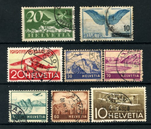 1923/41 - LOTTO/15847 - SVIZZERA - POSTA AEREA 8 VALORI USATI