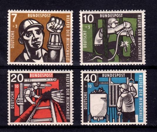 1957 - GERMANIA FEDERALE - PRO MINATORI 4v. - LINGUELLATI