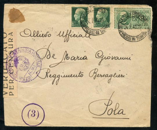 1940 - REGNO - BUSTA PER  ESPRESSO DA NAPOLI A POLA - LOTTO/30414