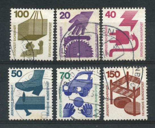 1972 - GERMANIA - PREVENZIONE INFORTUNI 6v. - USATI - LOTTO/31061U