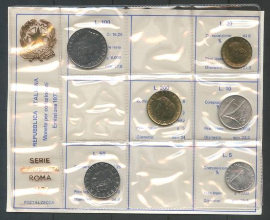 1977 ITALIA REPUBBLICA - Serie completa di 6 Monete Fior di Conio in confezione Privata - Lotto/M30663
