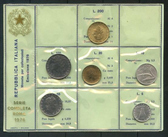 1978 - ITALIA - SERIE IN CONFEZIONE PRIVATA 6 MONETE FIOR DI CONIO - LOTTO/M30664