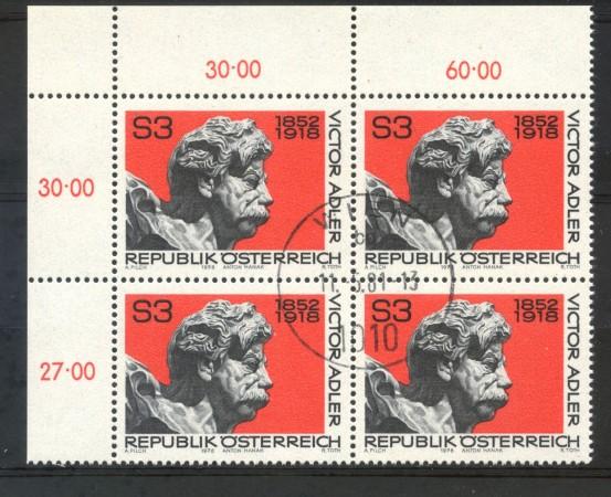 1978 - AUSTRIA - VICTOR ADLER - QUARTINA USATI - LOTTO/16403QU