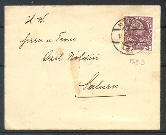 1913 - AUSTRIA -  3 HELLER   JOSHEO II° SU BUSTA DA MERANO A SALURN - LOTTO/10786